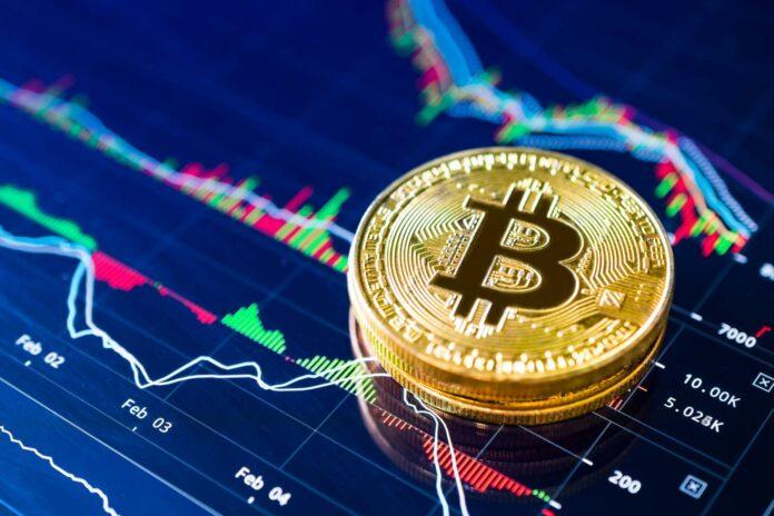 Bitcoin i wykres analizy technicznej z jego ceną w tle