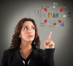 Kobieta, która kieruje się intuicją na podstawie swojego planu