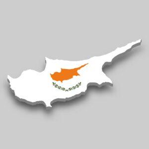 Grafika prezentująca Cypr - kontur wyspy i flaga