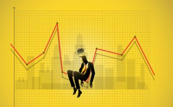 Grafika prezentująca wyczerpanego, zestresowanego tradera
